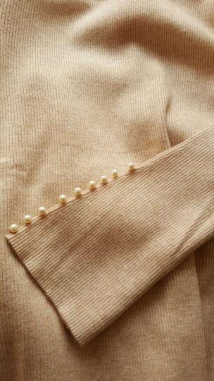 尚都比拉2018秋季新品高领钉珠毛衣喇叭袖针织衫纯色打底衫JDW83H0122218 黑色 XL 晒单图