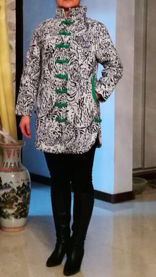 璞衣 2019冬装新款 女民族风复古女装外套棉麻风格风格中式青花长款棉衣棉服外套3041 白底花 XL 晒单图