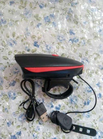 T6自行车灯车喇叭前灯山地车强光手电USB充电夜骑灯单车配件装备 USB充电款喇叭灯-红色 晒单图