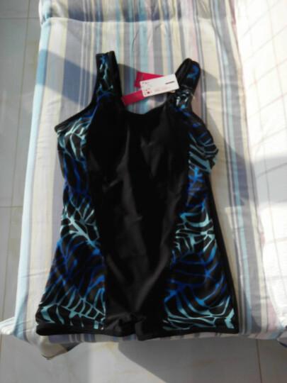 爱岫 胖MM加肥大码泳衣连体平角游泳衣女中老年保守妈妈遮肚显瘦泳装 蓝低紫圈 XL 晒单图