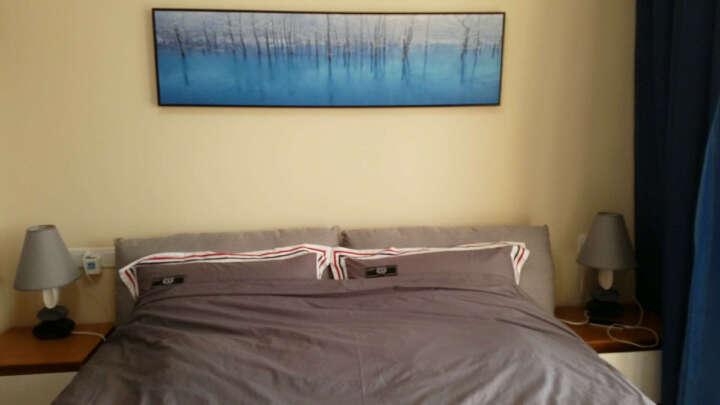 金石 床头风景挂画抽象油画办公室卧室沙发背景墙壁画现代简约客厅室内装饰画有框画单幅 K款 150*40L型黑色拉丝 晒单图
