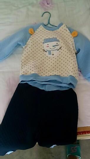 南极人(Nanjiren) 南极人宝宝春秋款夹棉套装婴儿衣服新款儿童卫衣套装 小雪人-天空蓝 100cm 晒单图