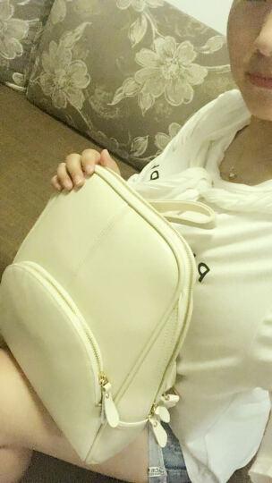 真皮双肩包女包 2018新款韩版学生书包时尚牛皮女包休闲背包简约百搭 平纹米白色 晒单图