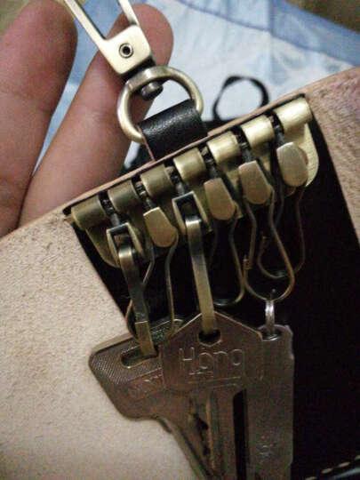 布朗克钥匙包锁匙收纳包银行卡包头层牛皮真皮纯牛皮男女挂腰 6把钥匙+3张卡 1112K 挂腰301黑 晒单图