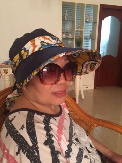 迷人微笑 遮阳帽女士夏天韩版运动户外防晒草帽可折叠大檐太阳帽新品 藏蓝09 晒单图