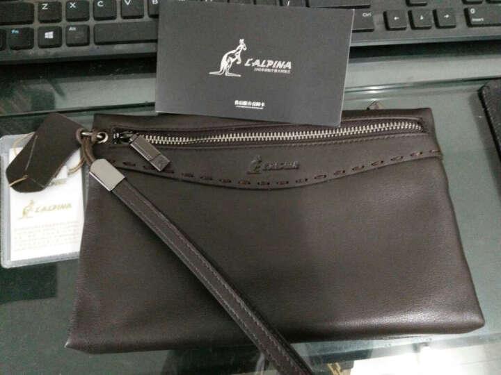 L'ALPINA阿尔皮纳 手包男大容量真皮 商务休闲男士手拿包个性多功能手包简约潮 咖啡色 晒单图