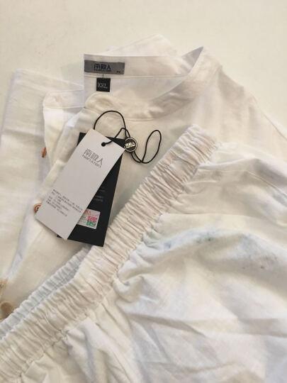 南极人(Nanjiren)夏季短袖衬衫男套装纯色休闲仿亚麻宽松薄款短衣短裤套装男杏黄3XL码XJTZ 晒单图