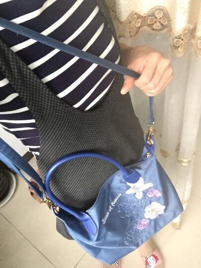 花间公主 花的香气刺绣文艺斜挎手提牛津纺帆布尼龙休闲女包1702TXT003蓝色 晒单图