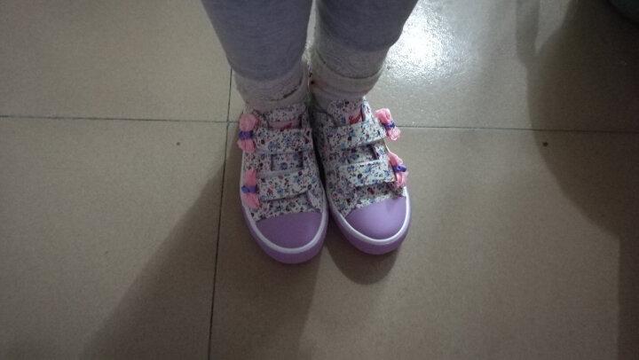 回力童鞋(Warrior)女童帆布鞋小童鞋中童鞋碎花蝴蝶结休闲公主鞋布鞋 紫色282 31码/国标205-实内长20cm 晒单图