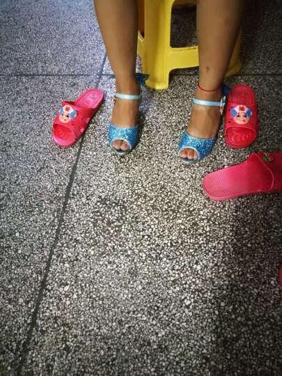 漫呦呦女童凉鞋 夏季新款童鞋鱼嘴高跟儿童表演鞋蓝色艾莎水晶公主鞋 蓝色 32 晒单图