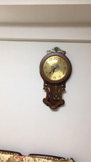 凯恩斯(KAIENSI) 挂钟客厅欧式复古时钟摇摆石英钟表卧室静音个性时尚创意木质挂表家用 1340G数字金属表盘 16英寸 晒单图
