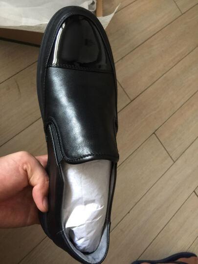 热风休闲鞋男新款男士拼接时尚一脚套休闲鞋皮H42M7309 01黑色 40正码 晒单图