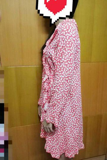 leccalecca碎花开衫睡袍睡裙女夏系带薄款性感睡衣女青年家居服春秋 睡袍绿色 M 晒单图