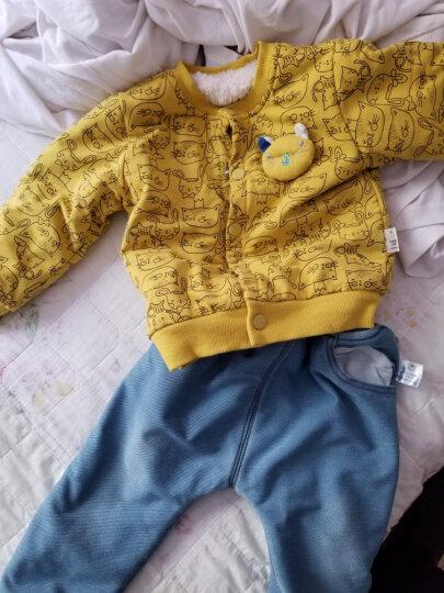 齐齐熊(ciciibear)秋装新款婴儿百搭长裤男女宝宝卡通针织哈伦牛仔裤子外 加绒牛仔蓝 110cm建议身高100-106cm 晒单图