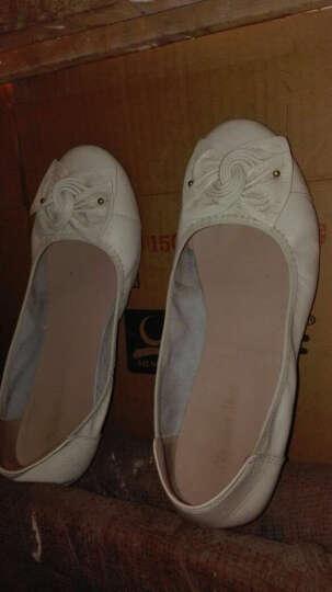 宝思特新款真皮平底平跟休闲女单鞋软牛皮软底妈妈鞋花朵跳舞鞋加大码女鞋子 杏色 37 晒单图
