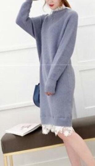 惜伊若雪针织衫女中长款套头毛衣女2018春季新品韩版修身宽松半高领加厚长袖打底衫打底裙 黄 均码 晒单图