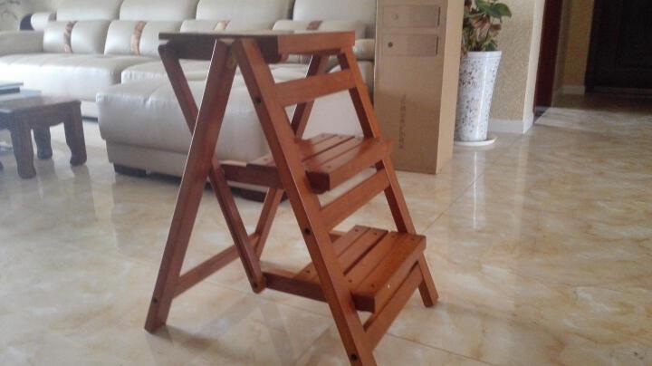 大豪 越南进口全实木折叠楼梯凳 橡胶木材质 阶梯凳 家用梯子爬高梯子 踏脚凳FST-65 晒单图