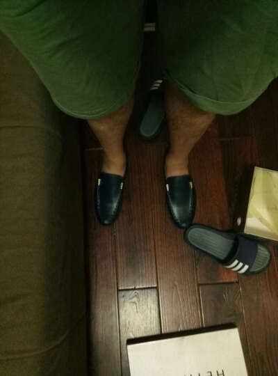 HEYMOOR夏季休闲鞋男鞋子 男士豆豆鞋懒人鞋商务休闲鞋皮鞋一脚蹬透气鞋HY1616 蓝色四季款 39 晒单图