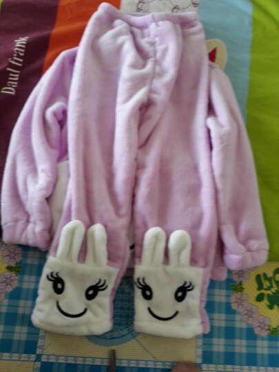 儿童睡衣套装2018秋冬中大童双面法兰绒加绒加厚保暖睡衣女童家居服套装卡通可爱 北极熊紫色 160(建议身高150CM左右) 晒单图