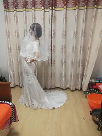 白首成约2018春新款婚纱蕾丝一字肩修身鱼尾拖尾新娘婚纱礼服晚宴年会主持礼服 白色 S 晒单图