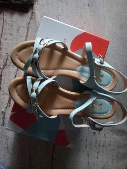 意尔康凉鞋夏季通勤中跟平底女凉鞋舒适休闲坡跟凉鞋女7353ZL29929W 蓝色 36 晒单图