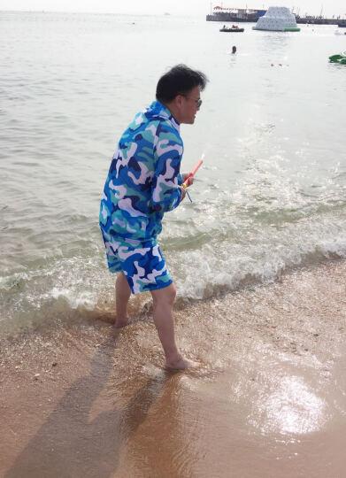 三奇 情侣游泳衣 女士比基尼三件套钢托聚拢分体平角休闲遮阳外衫沙滩游泳裤度假温泉 度假海滩泳装 男款天蓝套装拍下留言尺码 ( 上  下 尺码不同) XXL 晒单图