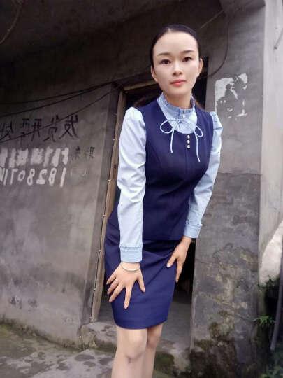 伊雅露莎小西装女职业装女装套装2018新款马甲套装8226 蓝西装+西裤 L 晒单图