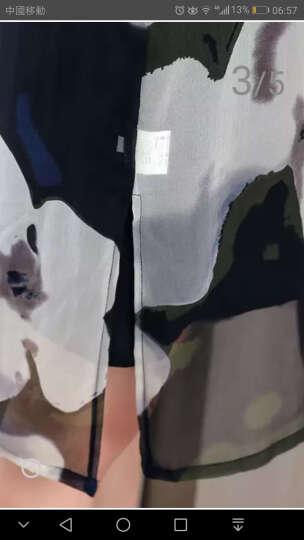衣典零一 桑蚕丝真丝连衣裙2018夏装新款大码女装夏季修身两件套印花连衣裙套装裙背心裙子 两件套(水墨色) XL 晒单图