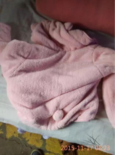 内美尔 韩版珊瑚绒羊羔绒家居服 睡衣女冬季加厚加绒保暖套装 可爱公主连帽大耳朵 粉色 均码 晒单图