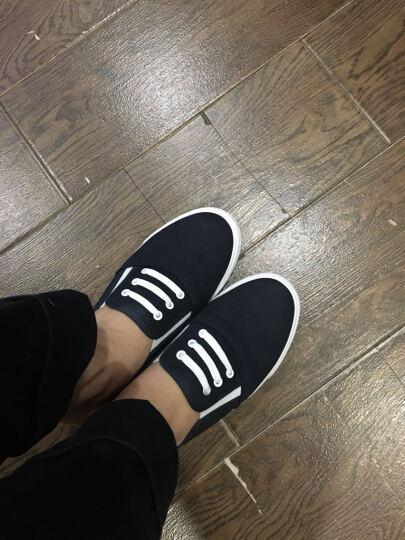 飞耀 帆布鞋女 夏季浅口小白鞋韩版一脚蹬懒人无后跟半拖鞋女 黑色 40 晒单图