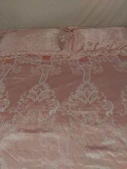 佰贝儿全棉贡缎提花婚庆四件套莫代尔床品套件床单被套纯棉双人床上用品 光辉岁月-孔雀蓝 1.8米床适用 晒单图