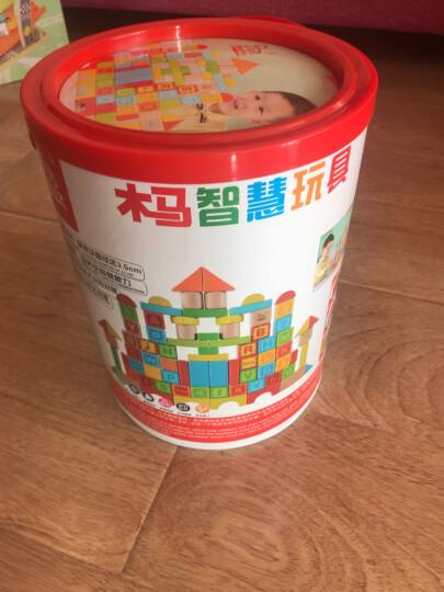 木马智慧 80粒大块数字字母组合进口全榉木木制质拼装搭婴幼儿童玩具宝宝男女孩早教启蒙大块桶装 晒单图