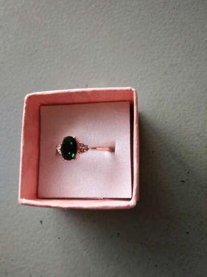 七夕情人节礼物 潮然蔻 祖母绿经典款宝石镀玫瑰金戒指送女友礼物之寓意 18MM 晒单图