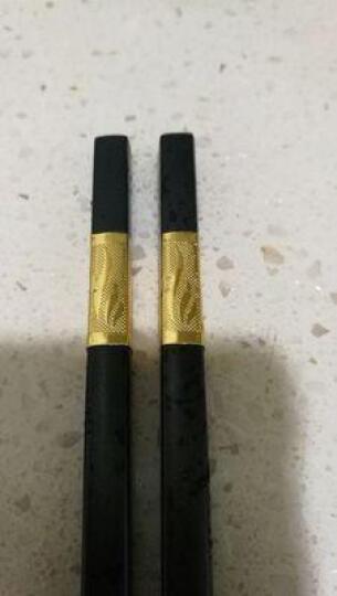双枪合金筷子 不锈 酒店家用创意筷 不含钢 无漆无蜡筷子套装 10双装 福寿绵绵 金色 27.2CM 晒单图