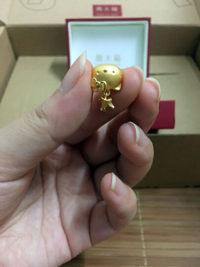周大福【七夕礼物】Hello Kitty凯蒂猫 皇冠喵咪 定价足金黄金吊坠R【多款可选】 晒单图