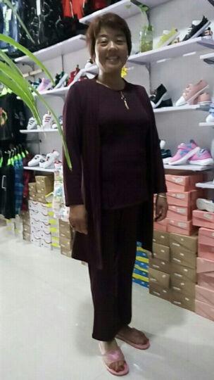 忆纯绒 中老年女装三件套妈妈装春秋装套装中长款外套长袖上衣40-50岁长裤 酒红(58141) XXL 晒单图
