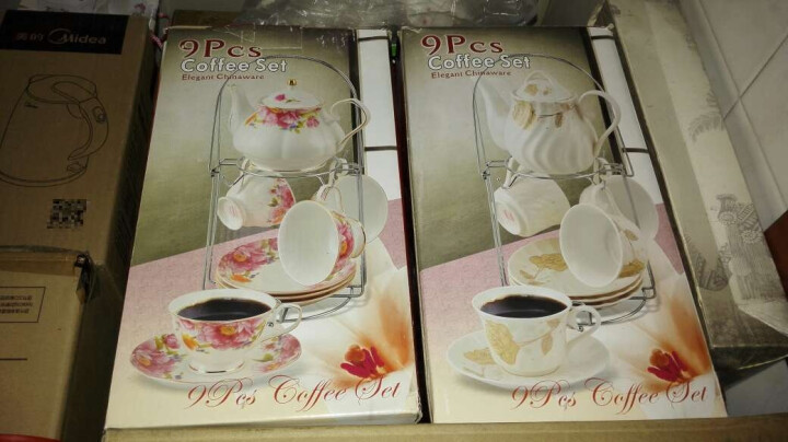 LICHEN 欧式陶瓷咖啡具英式咖啡杯碟下午茶具套装水杯子可做冷凉水壶 一壶四杯四碟送架子 茶花 晒单图