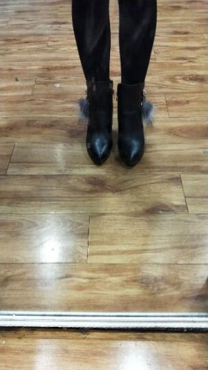 邻家天使短靴女秋冬新款绒面水钻防水台细跟高跟鞋 LJ7186-22加绒酒红色 34 晒单图