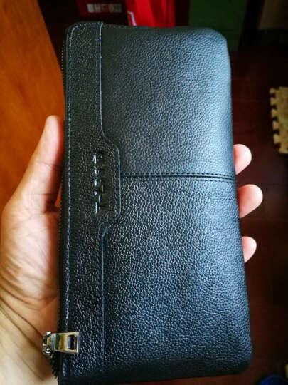 T-Land 真皮钱包男长款拉链青年日韩个性头层牛皮小手包多功能男士手机包 黑色 晒单图