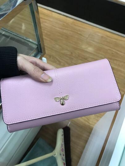 皮尔卡丹女士钱包 多卡位多功能真皮长款钱夹女头层牛皮票夹信封手包女 粉红色P6C660121-61S 晒单图