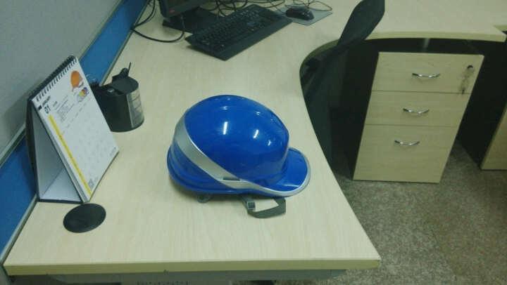代尔塔安全帽带荧光条电工电力绝缘工地工程头盔ABS材质绝缘1KV到1.5KV 102018 蓝色 晒单图