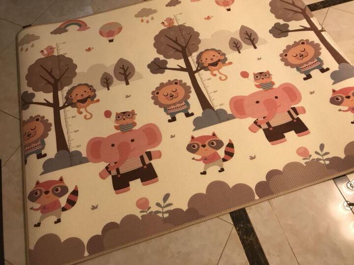 小龙哈彼(Happy dino)爬爬垫爬行垫卧室地垫宝宝防潮防摔安全无味地板垫子 森林小象+小龙哈彼毛毯 200*160*0.5cm 晒单图