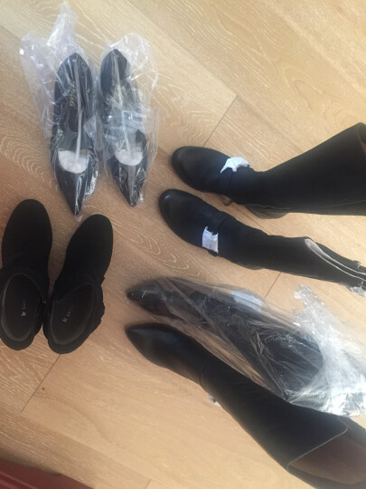 促 莱尔斯丹 新款女鞋时尚绒面套脚通勤鞋尖头粗跟中跟女单鞋OUSE 8T42501 深蓝色 NAS 37 晒单图