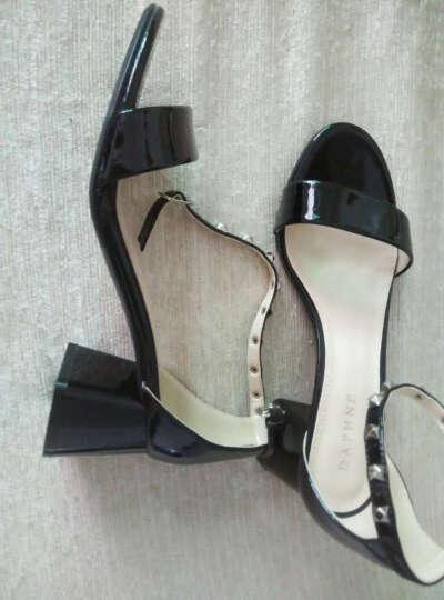 达芙妮品牌粗中高跟凉鞋女夏季新品女鞋铆钉方跟 033浅蓝 39 晒单图