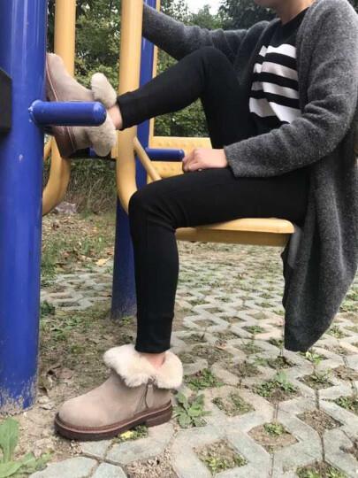 倪妃2018冬季羊毛真皮平底防水防滑雪地靴女短筒加厚保暖加绒短靴女牛筋底孕妇棉鞋女靴女鞋子 卡其色 37 晒单图