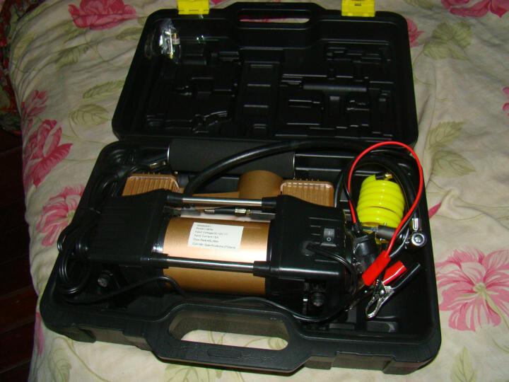 沿途 车载充气泵 汽车打气泵  金属双30缸 预设胎压数显 含工具箱 汽车轮胎用 便携式打气筒 E21金色 晒单图
