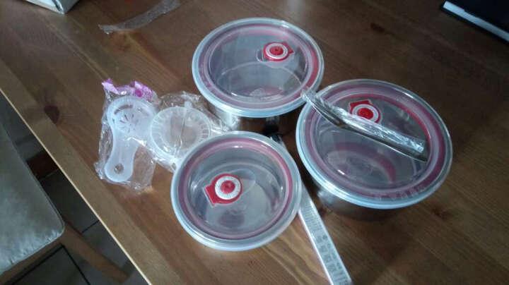 唐易 304不锈钢保鲜盒三件套装 微波分隔饭盒 不锈钢盆 冰箱收纳盒密封盒 晒单图