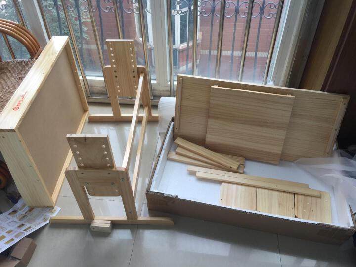 松柏合 实木可升降儿童学习桌 松木学习桌椅 儿童书桌  现代简约组合桌椅套装 小学生电脑桌 90书香升降桌椅画板 晒单图