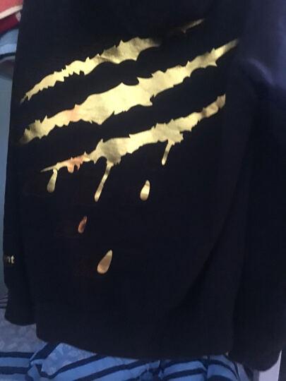 SuaMoment  一代抓痕血爪运动套头衫烫金男女情侣连帽卫衣冬季加绒加厚新款  潮牌新品 红白色 S 晒单图