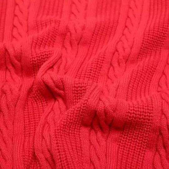 鸿星尔克官方旗舰店 线衫女圆领休闲外套女款套头针织线衣长袖上衣 探戈红(竖纹) S 晒单图